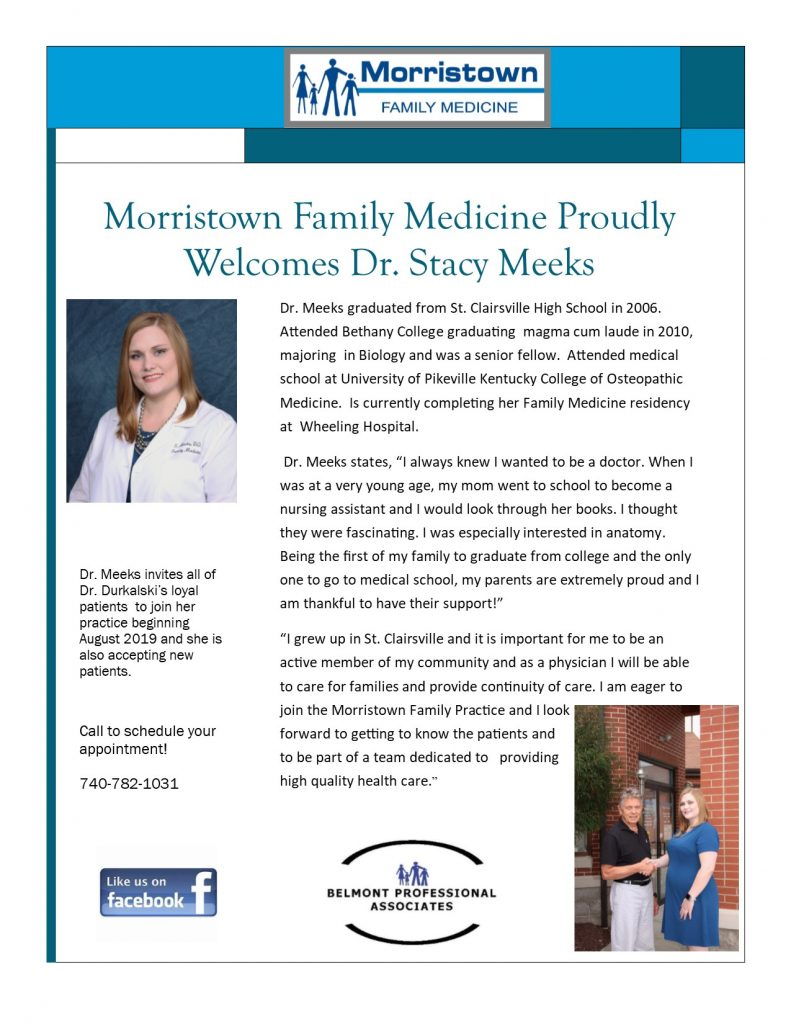 Morristown Family Medicine Welcomes Dr  Stacy Meeks- August 2019